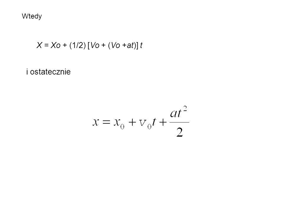 X = Xo + (1/2) [Vo + (Vo +at)] t